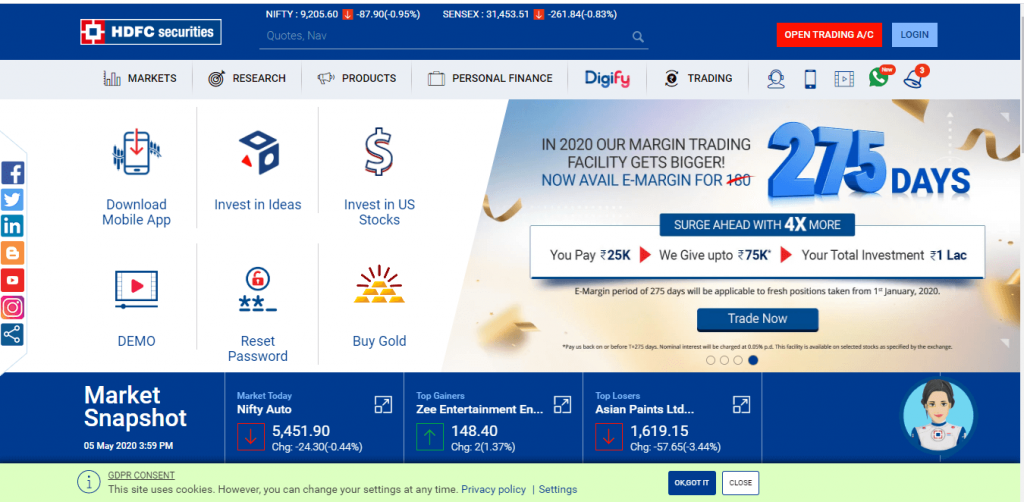 HDFC Securities Login Home Page
